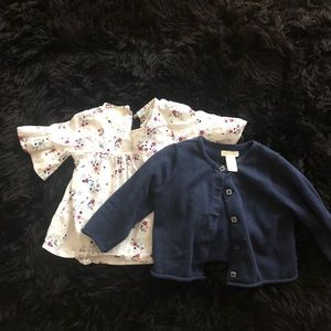 Floral blouse and navy cardigan baby girl 6-9 mo
